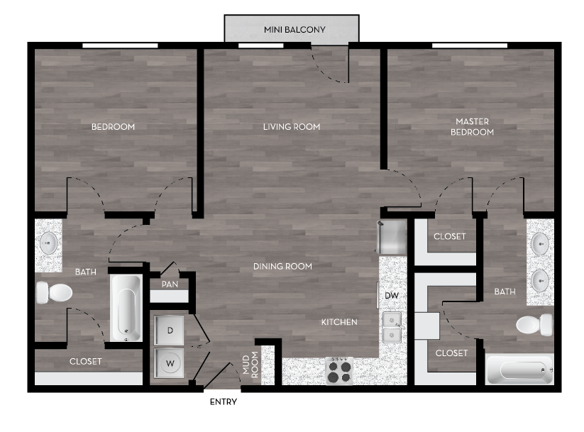 Front door opens to an open kitchen and living area with dining area, mud room, washer and dryer in closet, storage closet, pantry and mini-balcony. 2 bedrooms on opposite sides. Bathrooms feature walk-in closet.